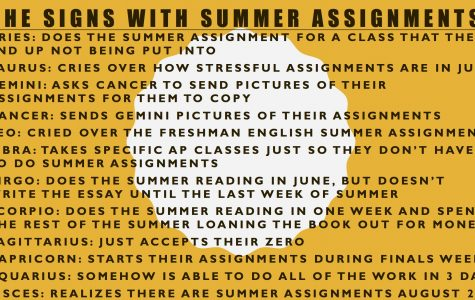 Signs doing their summer assignments