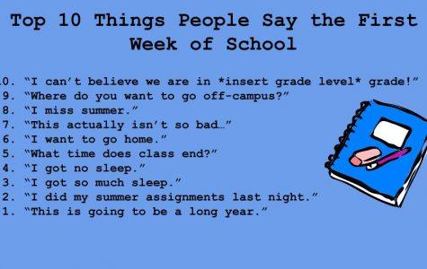 Top Ten Things People Say the First Week of School
