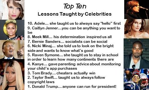 Top Ten lessons taught by celebrities
