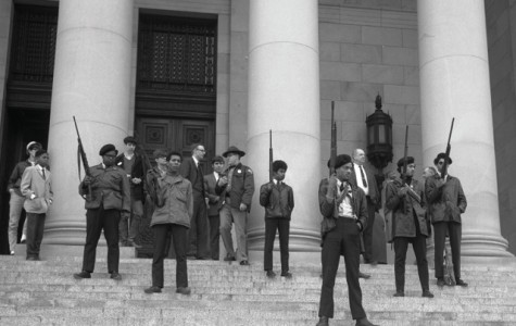 Holding guns as an act of defiance, the Black Panthers Party for Self-Defense stand outside the California courthouse in protest of racist legislation involving firearms in the hands of black citizens in the 60's and 70's. The party sought to raise the standard for all black citizens and for them to be recognized as equals in the eyes of the law.