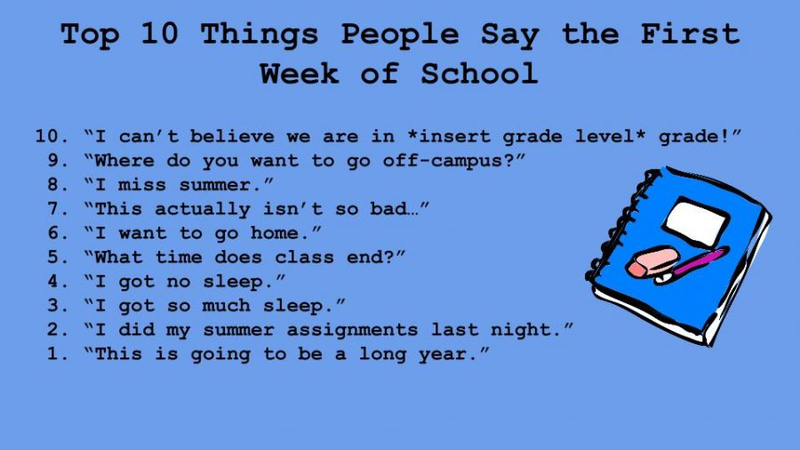Top Ten Things People Say the First Week of School