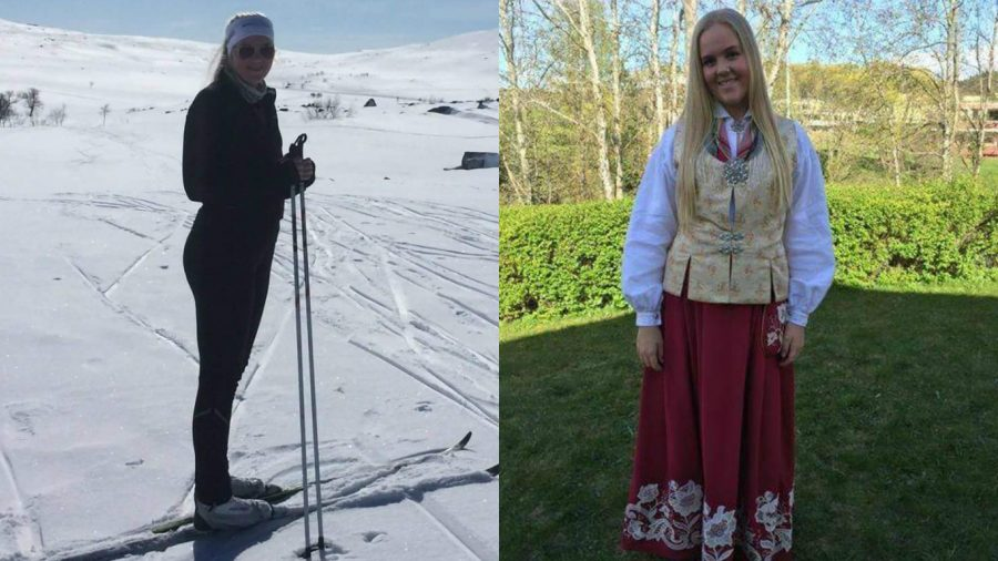 Posing+in+the+national+dress+of+Norway%2C+the+bunad%2C+Maia+Skalmeras+gets+ready+to+celebrate+her+cousin%27s+confirmation.+%0AMaia+also++loves+going+to+the+family+cabin+to+ski+in+Roros+when+her+family+has+a+free+weekend.