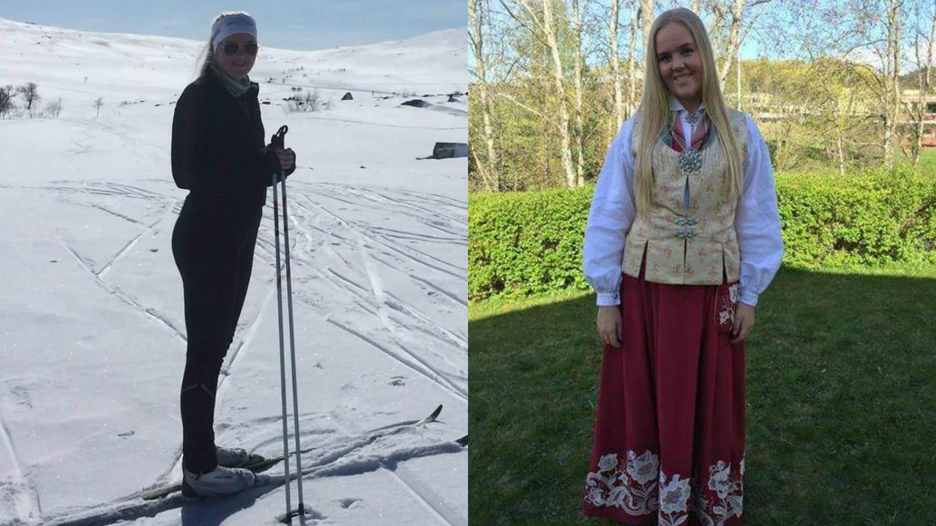 Posing in the national dress of Norway, the bunad, Maia Skalmeras gets ready to celebrate her cousin's confirmation.  Maia also  loves going to the family cabin to ski in Roros when her family has a free weekend.