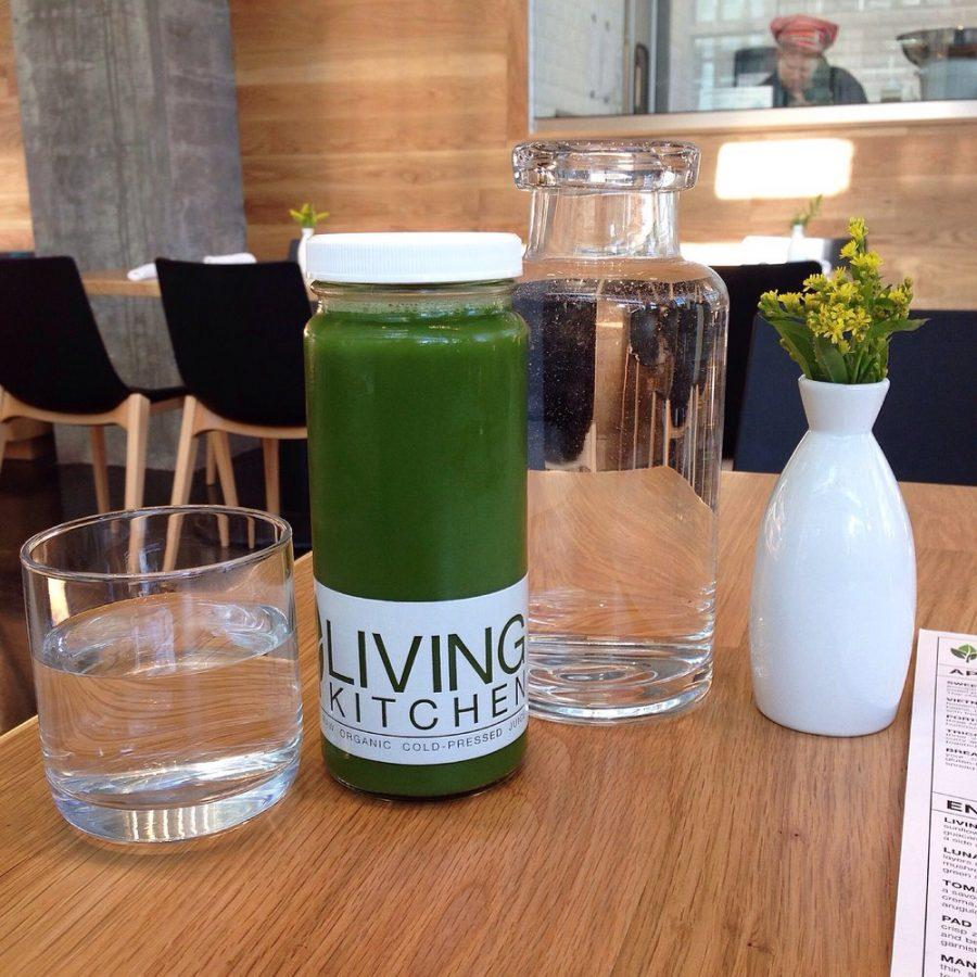 Served in a contemporary, zero-waste bottle, Living Kitchen's cold-pressed juices are a top item on the vegan restaurant's menu. Living Kitchen uses fresh, locally-sourced, and organic ingredients in all of their dishes.