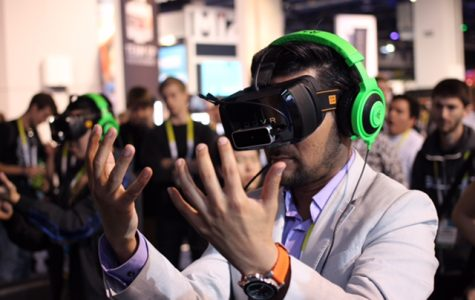 Inside of a virtual reality simulation, this gamer's perspective is altered by the virtual environment he is put in. Virtual reality is becoming more and more advanced every day with the help of technology and is creating a fun memorable experience for users.