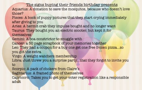 The signs buying their friends gifts
