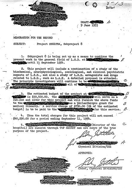 Signing off on project MK-ULTRA, Dr. Sidney Gottlieb, the chemical division chief, approves the usage of LSD on test subjects. MK-ULTRA is one out of a handful of conspiracies that appeared truthful.