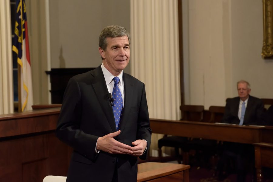 Pictured at his inauguration, Roy Cooper lays out his plans for progress in North Carolina. Since HB2 was instated, Cooper has been devoted to nondiscrimination efforts and repealing HB2.