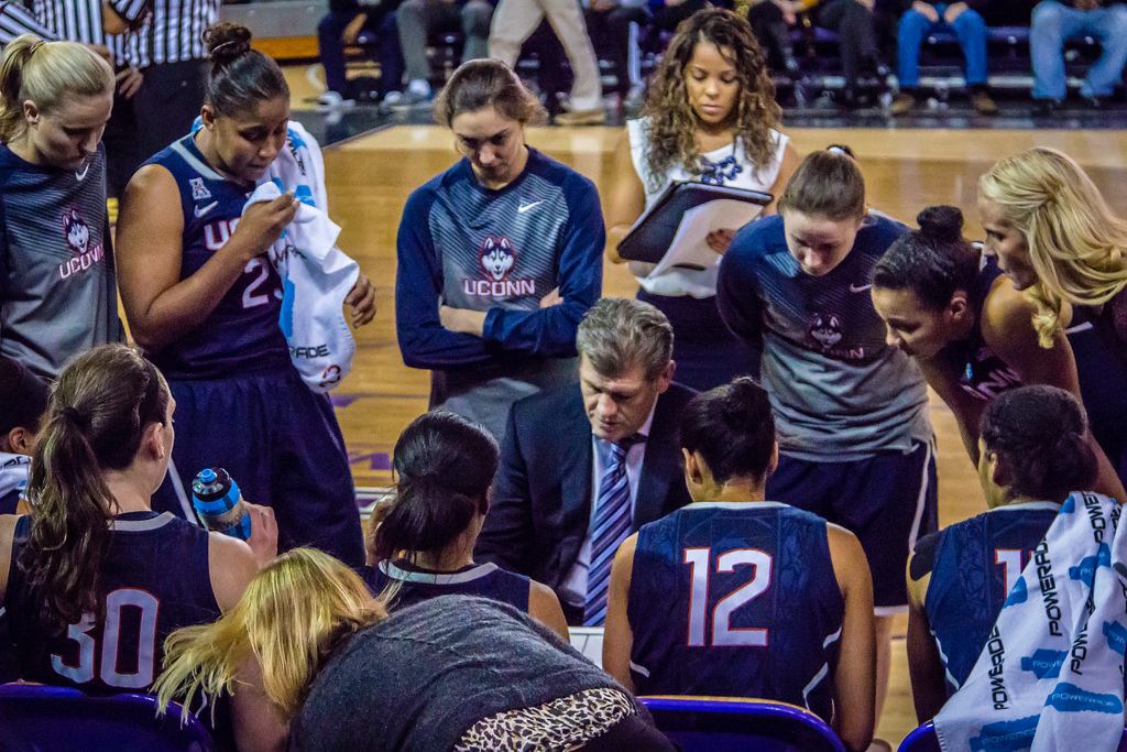 Sketching out a play, Coach Auriemma always maintains a calm and composed demeanor with his players. His consistent approach to the game has led to 11 national championships and counting.