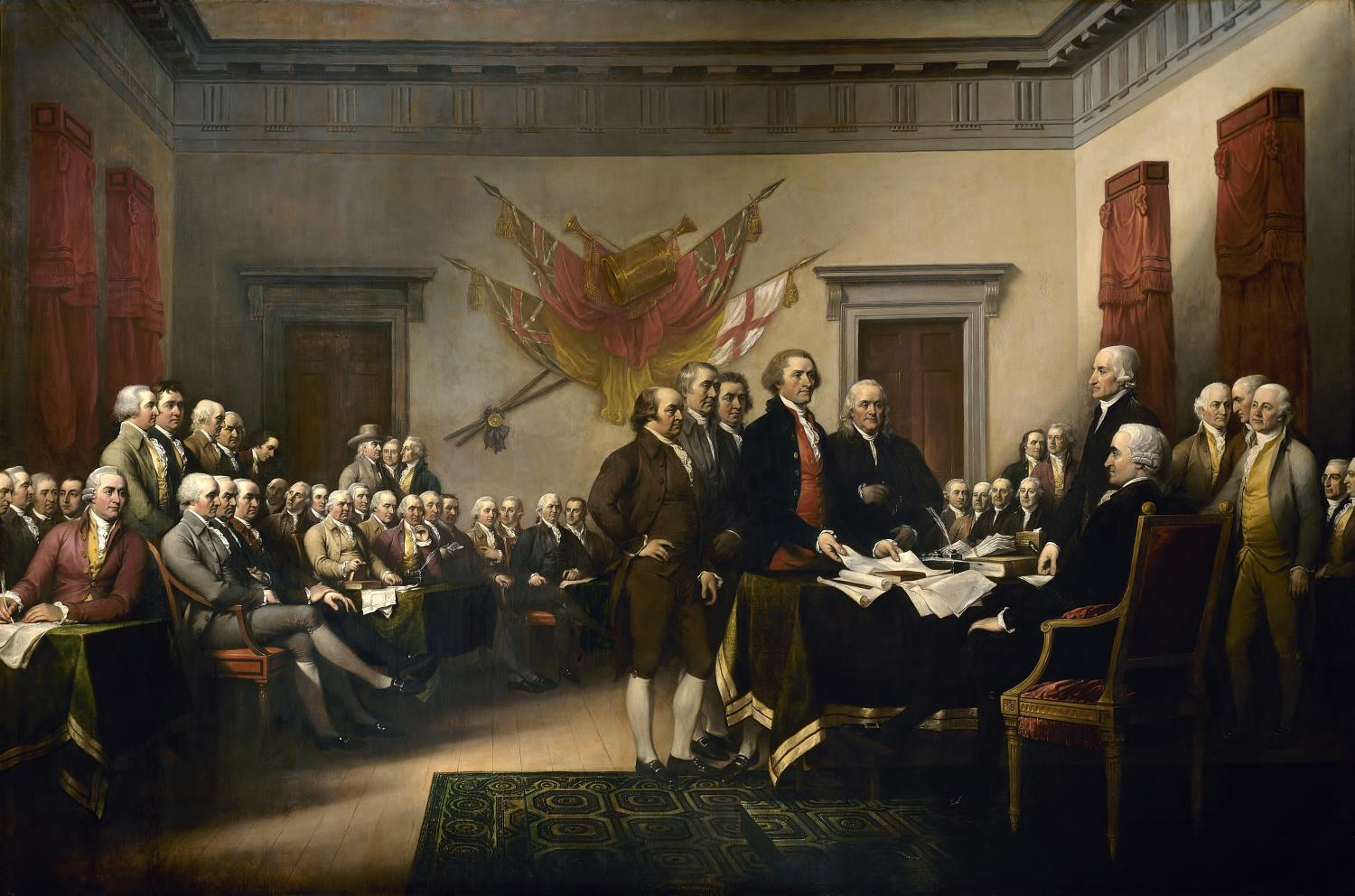 "Presenting a draft of the Declaration of Independence, fifty men are circled around the room in John Trumbull's famous painting fittingly titled ""Declaration of Independence."" Recently, a parchment of the Declaration of Independence was discovered in the United Kingdom by Danielle Allen and Emily Sneff."