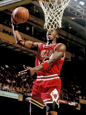 Arguably the best player in NBA history, Michael Jordan dunks during a game earlier in his historic career. Some say records are made to be broken, but MJ might have set the bar too high as records he has set are still a long way out of the reach of any active player.