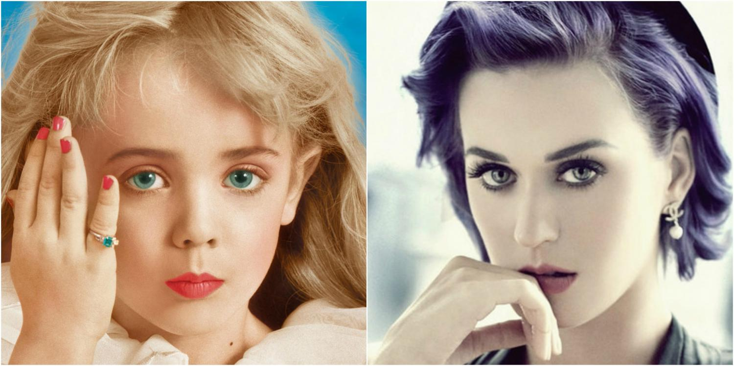Caption: Posing for beauty shots, both singer Katy Perry and child beauty star JonBenét Ramsey look into the camera. JonBenét was tragically murdered in her home back in 1996...or was she?