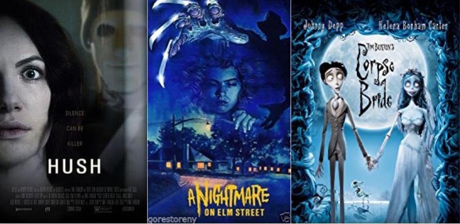 Each portraying a unique scary situation, these three films are Halloween classics. HUSH, A Nightmare on Elm Street, and the Corpse Bride make for a perfect Netflix binge for the spooky season!