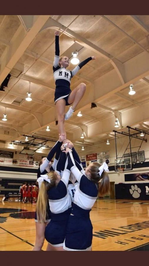 Hitting+a+lib+in+an+extension%2C+cheerleader+Jesse+Crossland+uses+strength+and+balance+while+being+in+the+air+on+one+foot.+This+is+one+of+many+stunts+that+cheerleaders+do.+