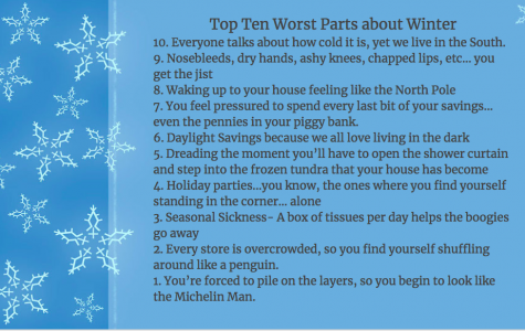 Top Ten Worst Parts about Winter