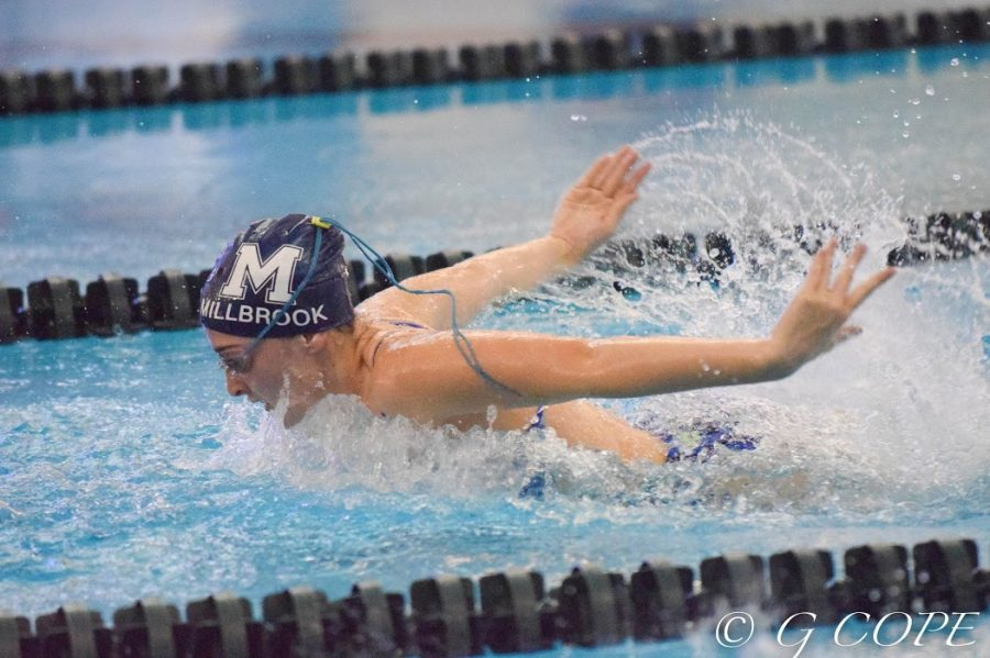 Racing+through+the+pool%2C+Sara+Beth+McLamb+shows+off+her+butterfly+stroke.+Sara+is+one+of+the+top+returning+girls+in+her+event+and+is+eager+to+have+another+great+year.+