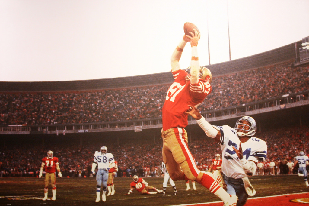 Leaping into the air and catching the game winning pass, Dwight Clark of the 49ers helped send the team to their first Super Bowl win. This catch was the start of a dynasty for the 49ers as they went on to find enormous success in the following years.