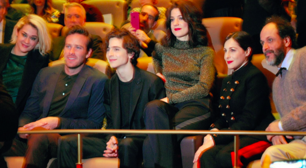 Pictured sitting alongside costar Armie Hammer, actor Timothée Chalamet watches his film, Call Me By Your Name, at the 67th Berlin International Film Festival. At the 2018 Academy Awards both Timothée Chalamet and Call Me By Your Name are nominated for Oscars.