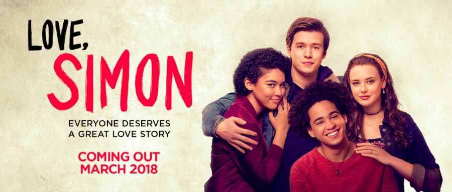 Hugging classmates Leah, Bram, and Abby, title character Simon shows his love for his friends. On March 16, the movie adaptation of the novel Simon vs the Homo Sapiens Agenda, written by Becky Albertalli, will be released.