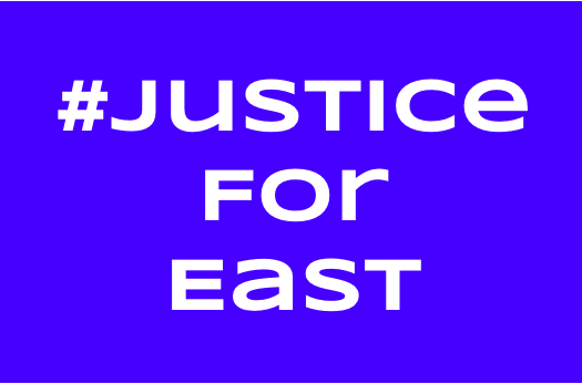 Created by Coach East's fans, the logo for #JusticeForEast was created to protest the firing of beloved teacher Coach East. He was fired due to threats to students and assigning unconstitutional projects.