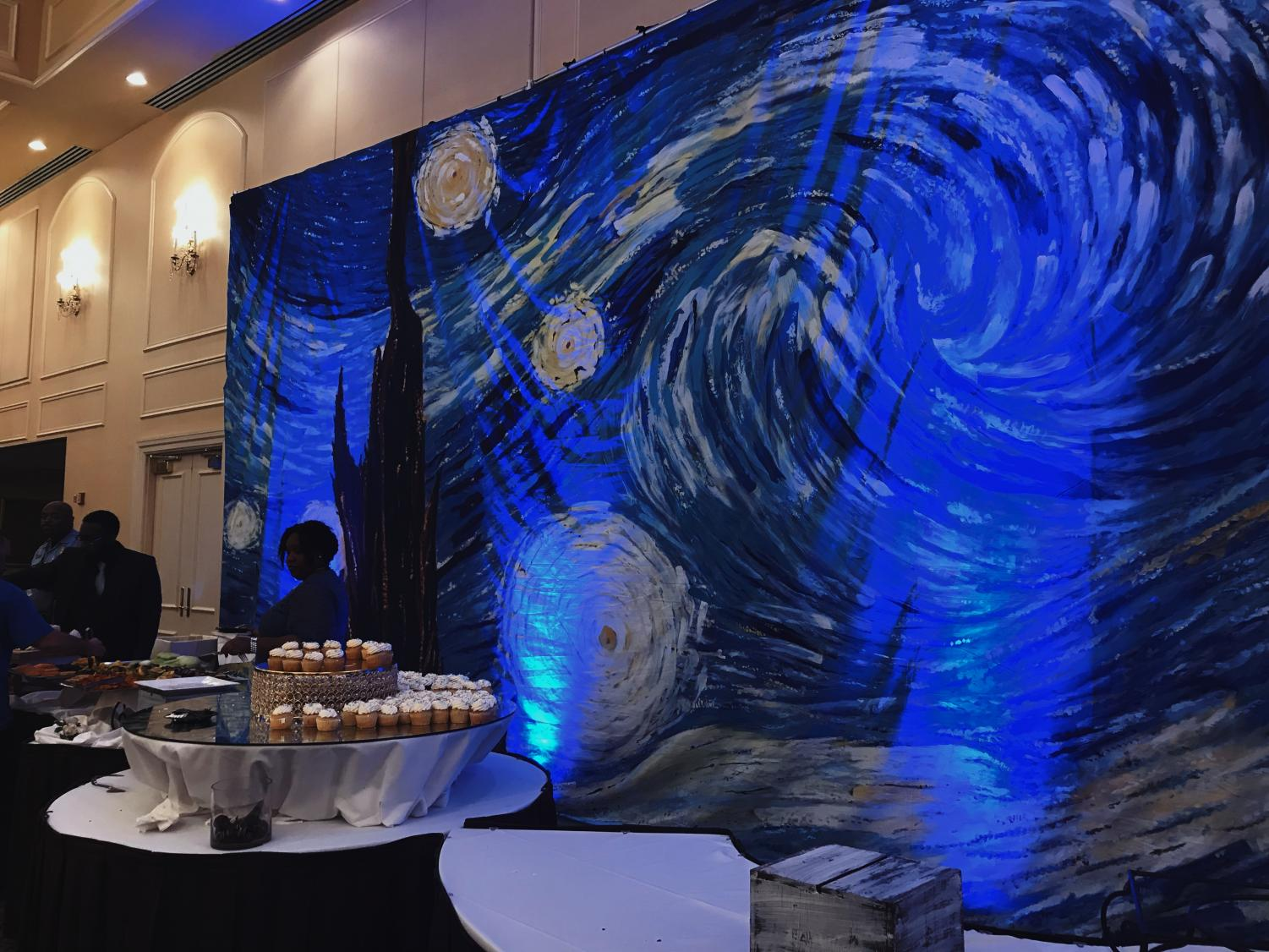 Hanging in the venue, this backdrop of Vincent van Gogh's, Starry Night gave Millbrook's prom a more romantic and artsy appeal. Millbrook students danced the night away at Friday night's prom, and also had the joy of crowning their prom king and queen, seniors Bryan Squires and Raya Coley.