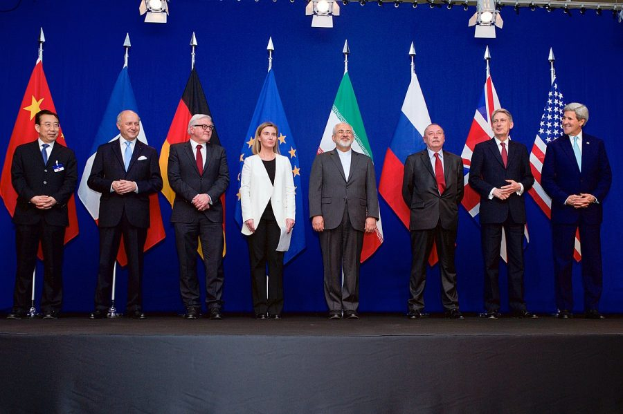 Standing before their flags, these foreign ministers were discussing the aspects of the Iran Nuclear Deal. This deal ensures that Iran will not be able to create nuclear weapons as easily as before.