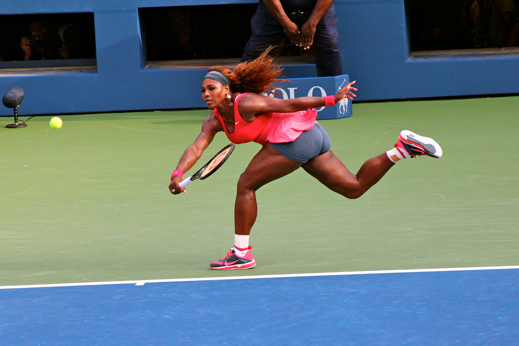 Using her famous forehand that knocks her opponent off balance, Serena Williams is caught in action going for the ball. Williams is one of the greatest tennis players today, so why did she not win the US Open this year?