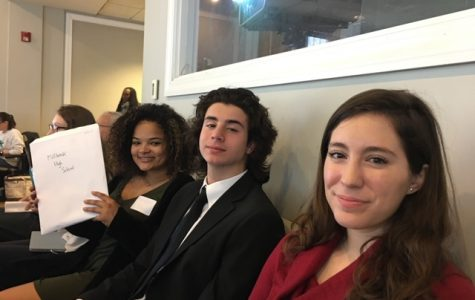 Waiting to see who they will be competing against, Mikayla Davis, Robbie Cicciari, and Savie Warren went 0-2-1 at last year's National High School Ethics Bowl competition. Ethics Bowl is an enriching, thought provoking debate team eager to place in this years competition.