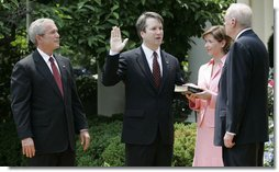 Being sworn into the United States Court of Appeals for the District of Columbia Circuit in June, 2006, Brett Kavanugh is pictured with former president George Bush. Kavanaugh has recently become the center of attention, when sexual allegations arose surrounding him by three women.