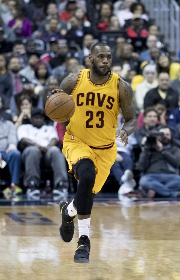 Dribbling down the court, Lebron James plays in his final season with the Cavs. This offseason James and many other big names switched to different teams in hopes of winning the NBA Championship.
