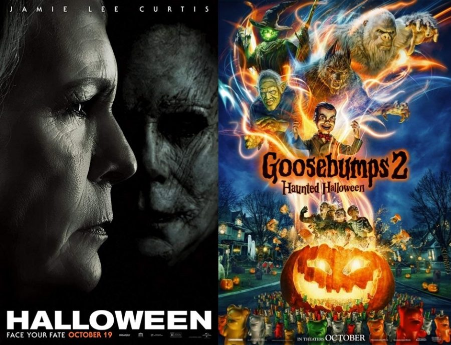 Promoting+two+Halloween+movies%2C+Halloween+and+Goosebumps+2+are+both+films+that+came+out+this+October.+These+new+Halloween+movies+may+be+a+perfect+way+for+you+to+get+into+the+spooky+spirit+this+Halloween.
