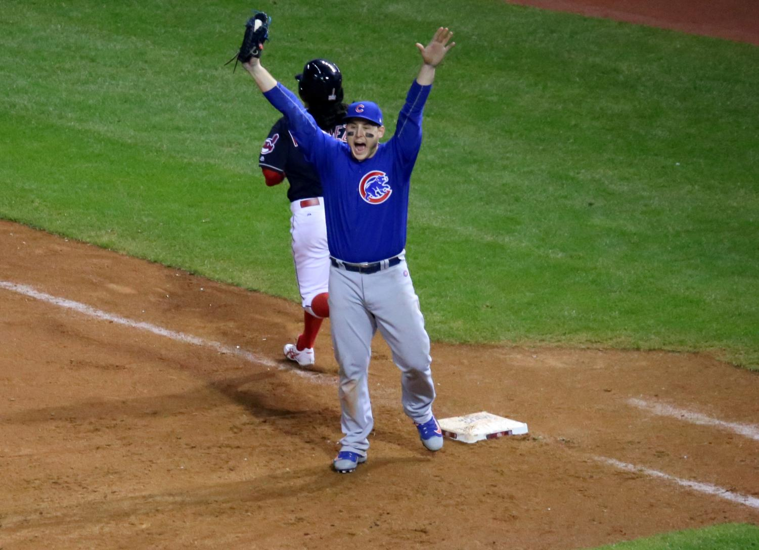 Celebrating the final out of the 2016 World Series, Anthony Rizzo jumps for joy! Either the Red Sox or Dodgers will be the next team to celebrate this accomplishment.