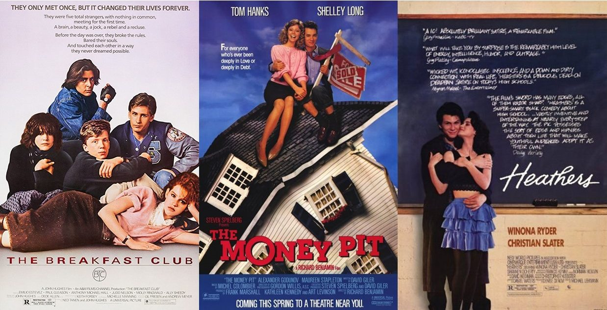 Promoting three highly recognizable movies from their decade, The Breakfast Club, The Money Pit, and Heathers are all works that remain a symbol of the 80's today. These movies are all available to stream on Netflix and make for a perfect 80's movie marathon.