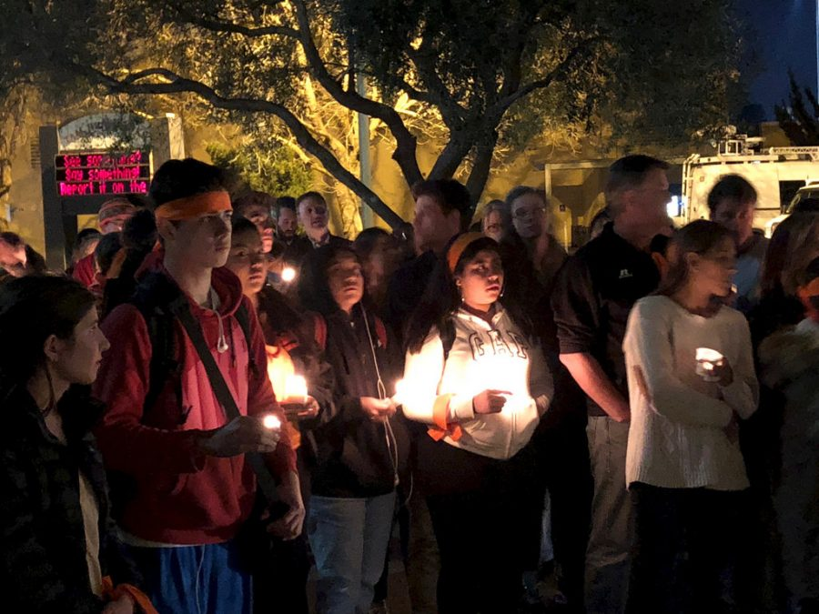 To+honor+those+lost+at+the+Parkland+High+School+Shooting%2C+Tam+High+School+students+participate+in+a+vigil.+Students+at+Butler+held+a+similar+vigil+to+remember+Bobby+McKeithen.+