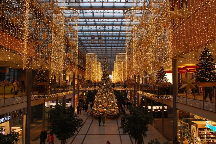Glowing brightly, lights and decorations in a Berlin mall make it clear that shoppers are in the Christmas spirit. However, the shopping center does not appear crowded, which often occurs in the days leading up to the 25th.
