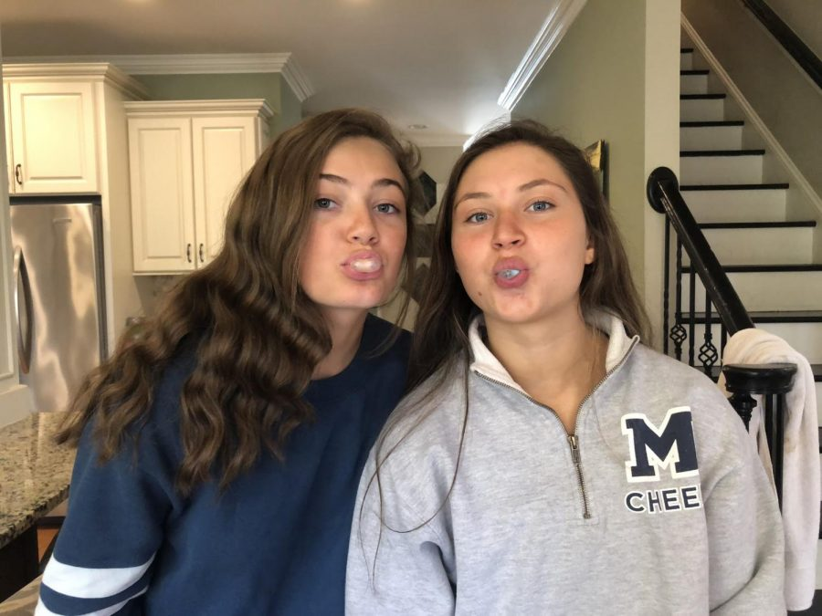 Blowing bubbles, junior Margaux Smith and sophomore Katherine Pair compete to see whose is the biggest. What other food can do this?