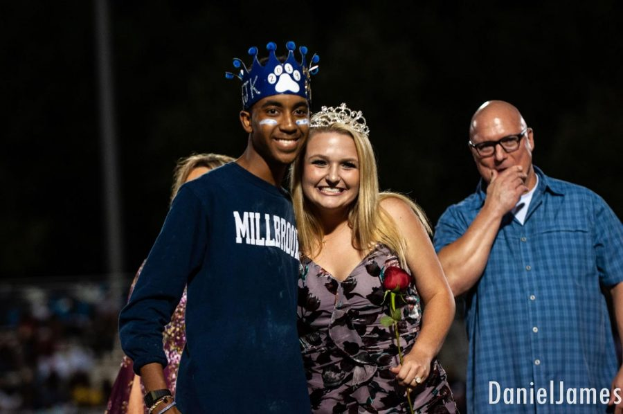 Posing with senior Kailee Storie, Kerrington Keyes smiles after crowning the Homecoming Queen, after being crowned himself as Mr. Millbrook. Kerrington is very involved, and this alone shows how spectacular of a student he is!