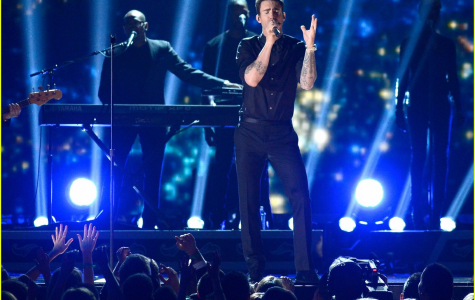 """Belting out his hit single """"Daylight,"""" alternative band Maroon 5 performs at the 2013 Grammy Awards. Fans are anticipating Grammys for the band this year after songs like """"Girls Like You"""" topped charts."""