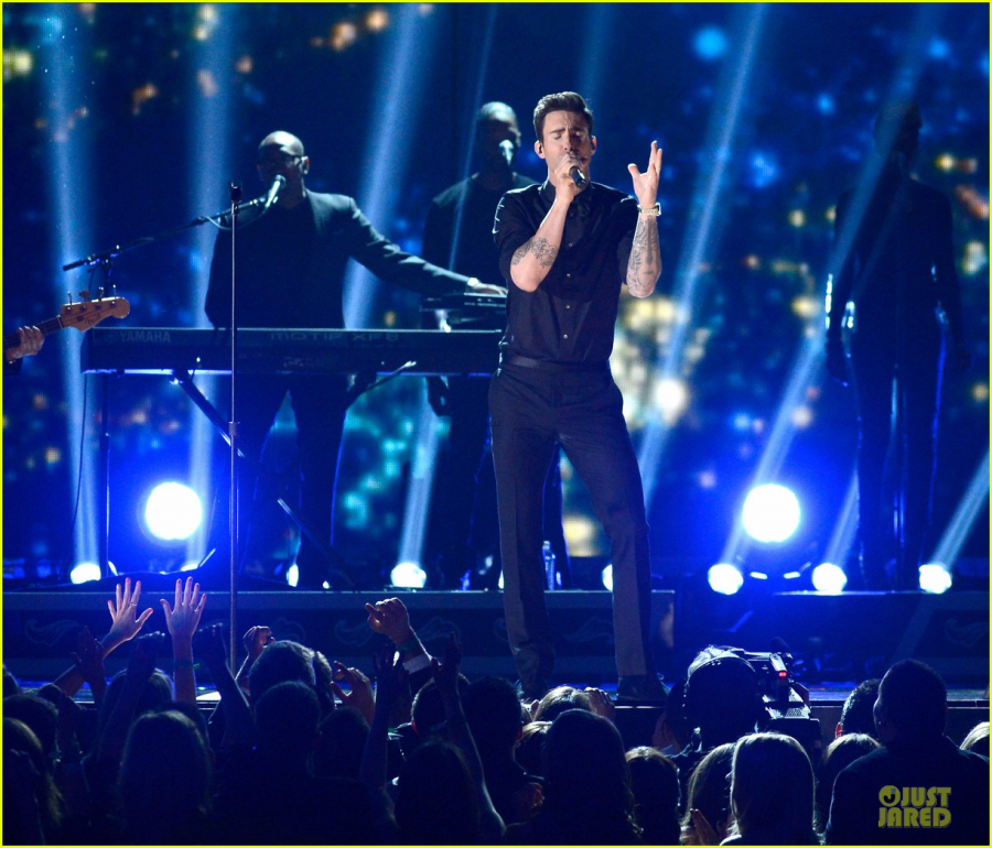 "Belting out his hit single ""Daylight,"" alternative band Maroon 5 performs at the 2013 Grammy Awards. Fans are anticipating Grammys for the band this year after songs like ""Girls Like You"" topped charts."