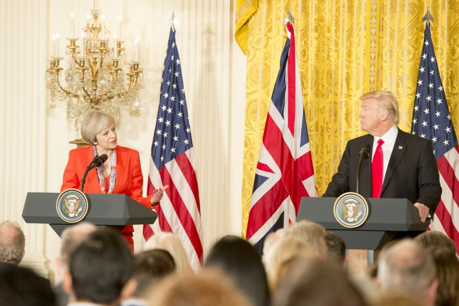 Holding+a+press+conference+with+UK+Prime+Minister+Theresa+May%2C+President+Trump+discusses+the+UK+leaving+the+European+Union+and+the+United+States+involvement.+This+was+only+one+of+many+press+conferences+held+during+2018+to+discuss+major+events.
