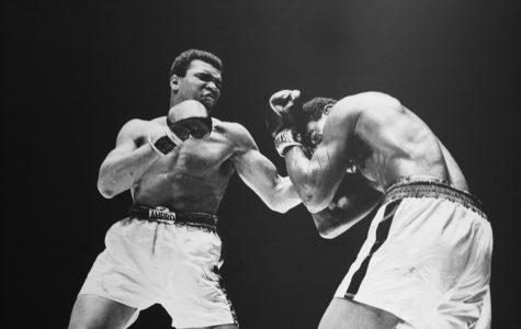 Throwing a punch at Ernie Terrell, Muhammad Ali fights in one of the 56 matches that he won. Muhammad Ali is an all-time great in the sport of boxing, as well as in the fight against racism.