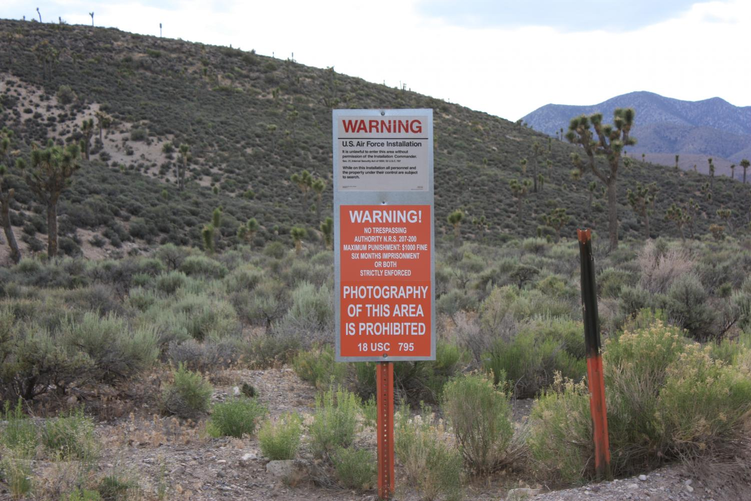 Urging trespassers to turn back, this sign is the last warning before people are arrested or shot by snipers before entering Area 51. Area 51 is a top secret military base that has led to many speculations of the government hiding the extraterrestrial.