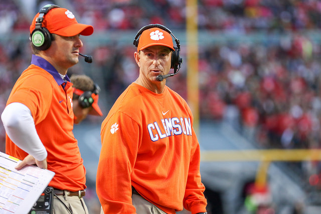 Coaching+his+team+on+the+sideline%2C+Clemson+Tigers+coach+Dabo+Swinney+plans+to+win+another+game+to+protect+his+undefeated+record.+Swinney+has+coached+at+Clemson+for+many+years+and+plans+to+continue+after+he+ended+his+tenth+season+with+his+second+National+Championship+title.+With+the+leadership+of+freshman+quarterback+Trevor+Lawrence+and+several+of+the+seniors%2C+the+Tigers+proved+they+are+now+the+team+to+beat.%0A