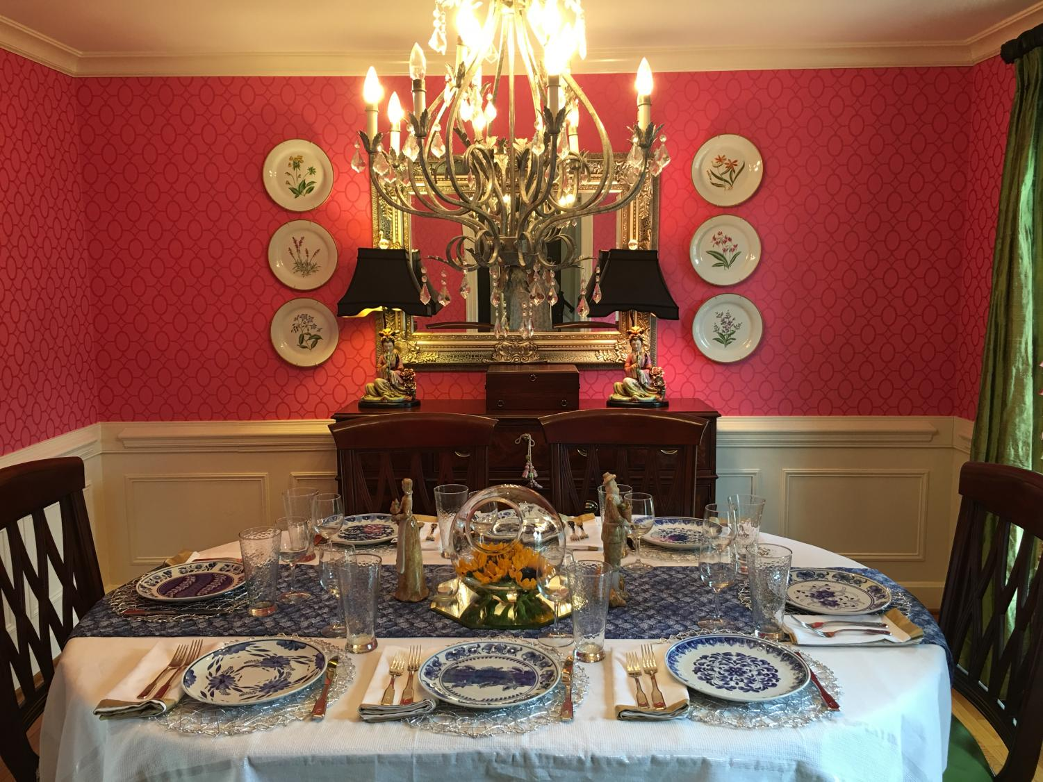 Preparing for a gracious crowd, a good hostess should always know how to properly set a table. It is important remember the proper silverware placement in correlation to the plate, as well as correctly place the napkin and drinking glass in each place setting.