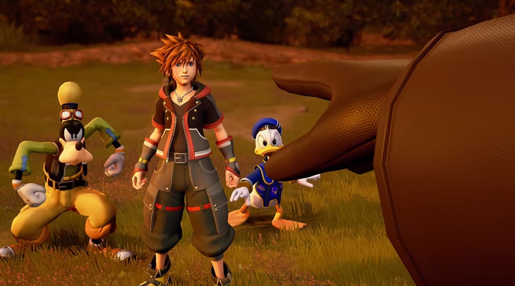 Sporting a new look, Sora, Donald, and Goofy stand firm in the new aesthetic Kingdom Hearts 3. This game has had a graphical overhaul from the last and a new updated style to complement this new generation of this beloved franchise.