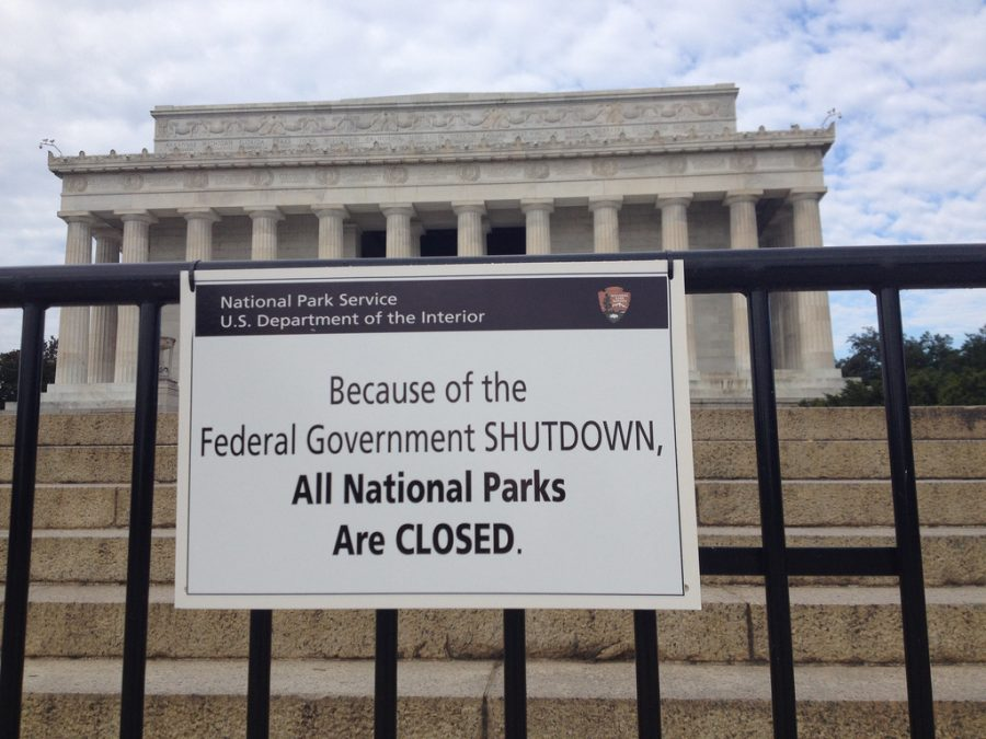 Hanging in front of the Lincoln Memorial, a sign tells the public that all National Parks are closed as a result of the pending government shutdown. The longest government shutdown in history occurred this year and has left 800,000 government workers without pay.