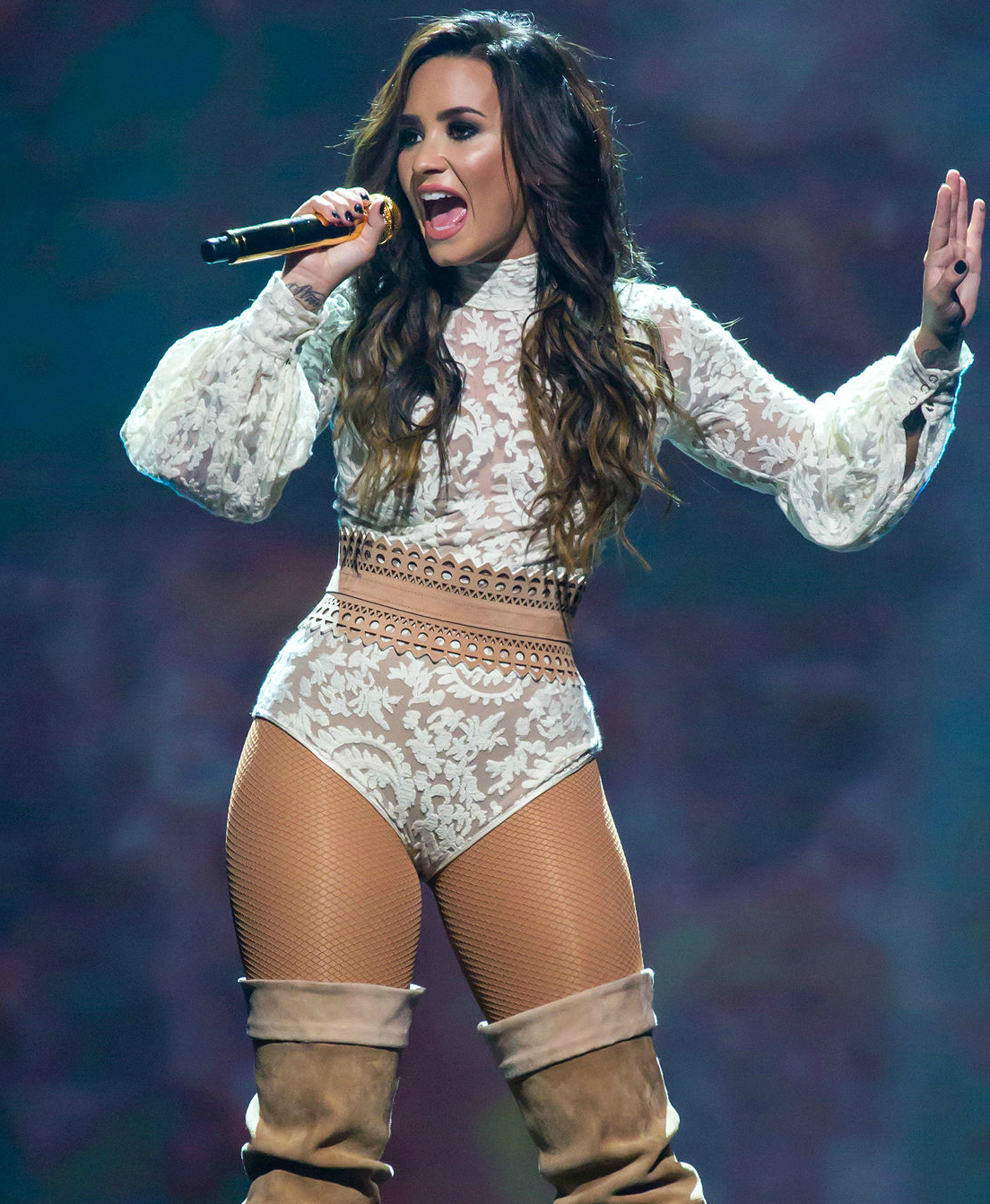 "Performing in San Antonio, Texas, in 2016 during her Future Now tour with Nick Jonas, Demi Lovato is a talented singer with a wide artistic range. Lovato received her second Grammy nomination late last year for her feature in Christina Aguilera's ""Fall in Line."""