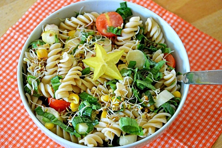 Chopping your ingredients into smaller pieces, like in the image above, makes your pasta salad easier to eat. A pasta salad is a fantastic lunch option that will definitely keep you full throughout the long school day.