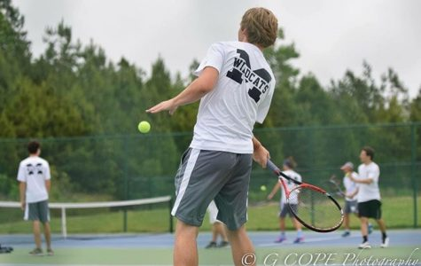 Swinging with precision, senior and Belmont Abbey tennis commit Alex Crabtree tries to score against his opponent. As formidable State Championship contenders, Coach Medina will rely heavily on Alex's leadership this year to bring success to their young team.