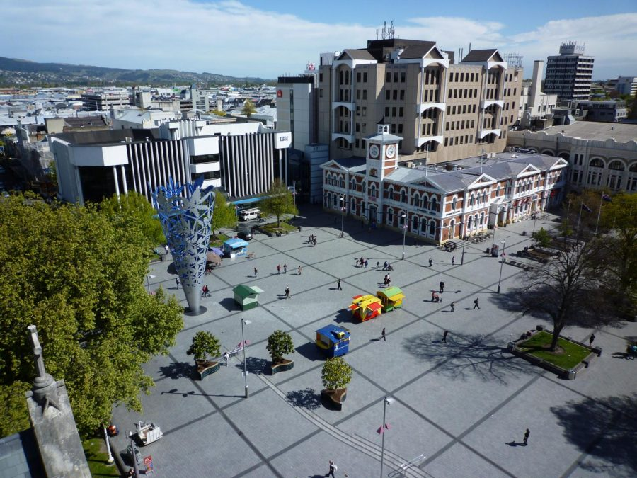 Touring+the+plaza%2C+locals+and+tourists+explore+Cathedral+Square+in+Christchurch%2C+New+Zealand.+On+Friday+morning%2C+this+square+was+in+total+chaos+because+of+two+shootings+that+left+dozens+dead.